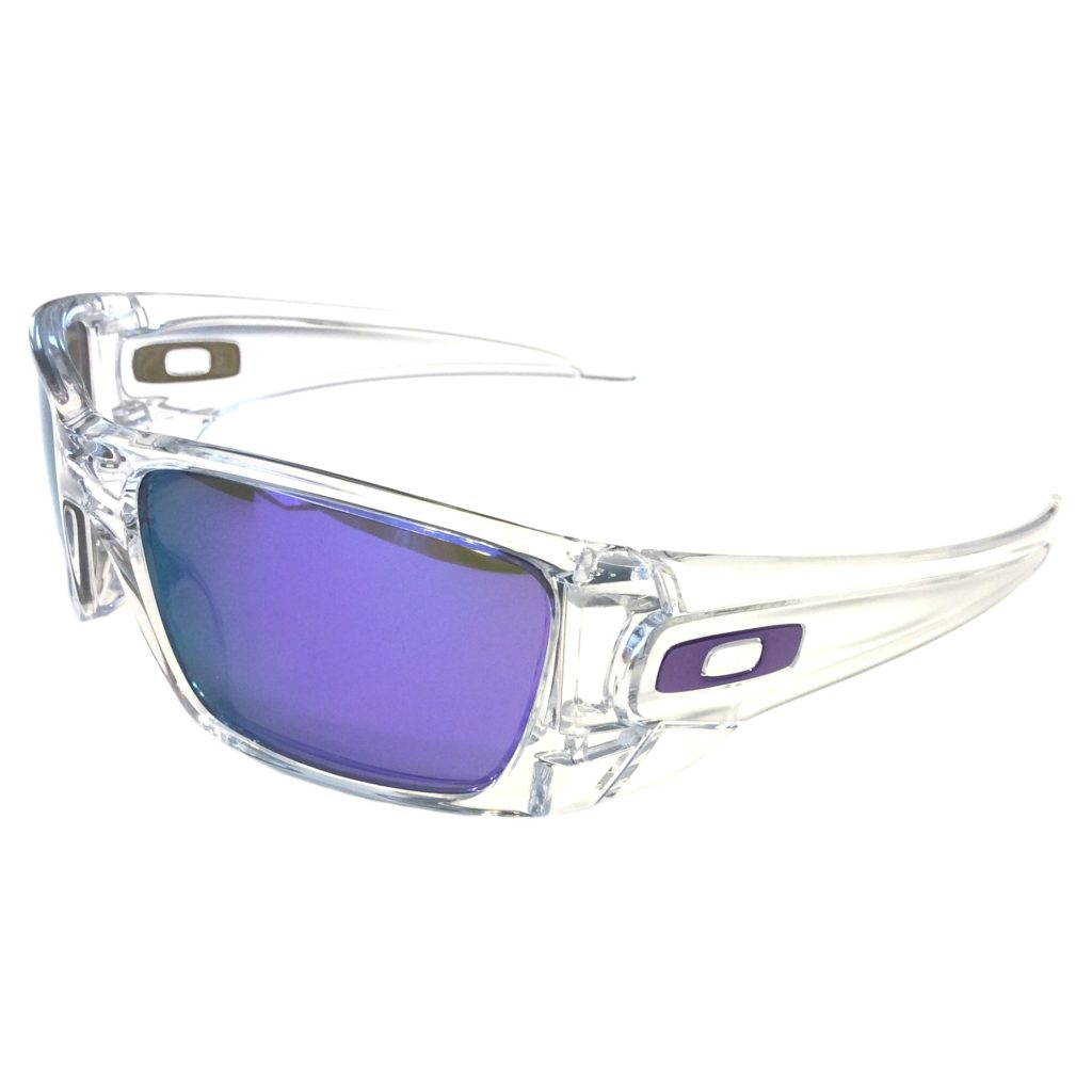 Oakley Fuel Cell Sunglasses Polished Clear Frame Violet Iridium Lens ...