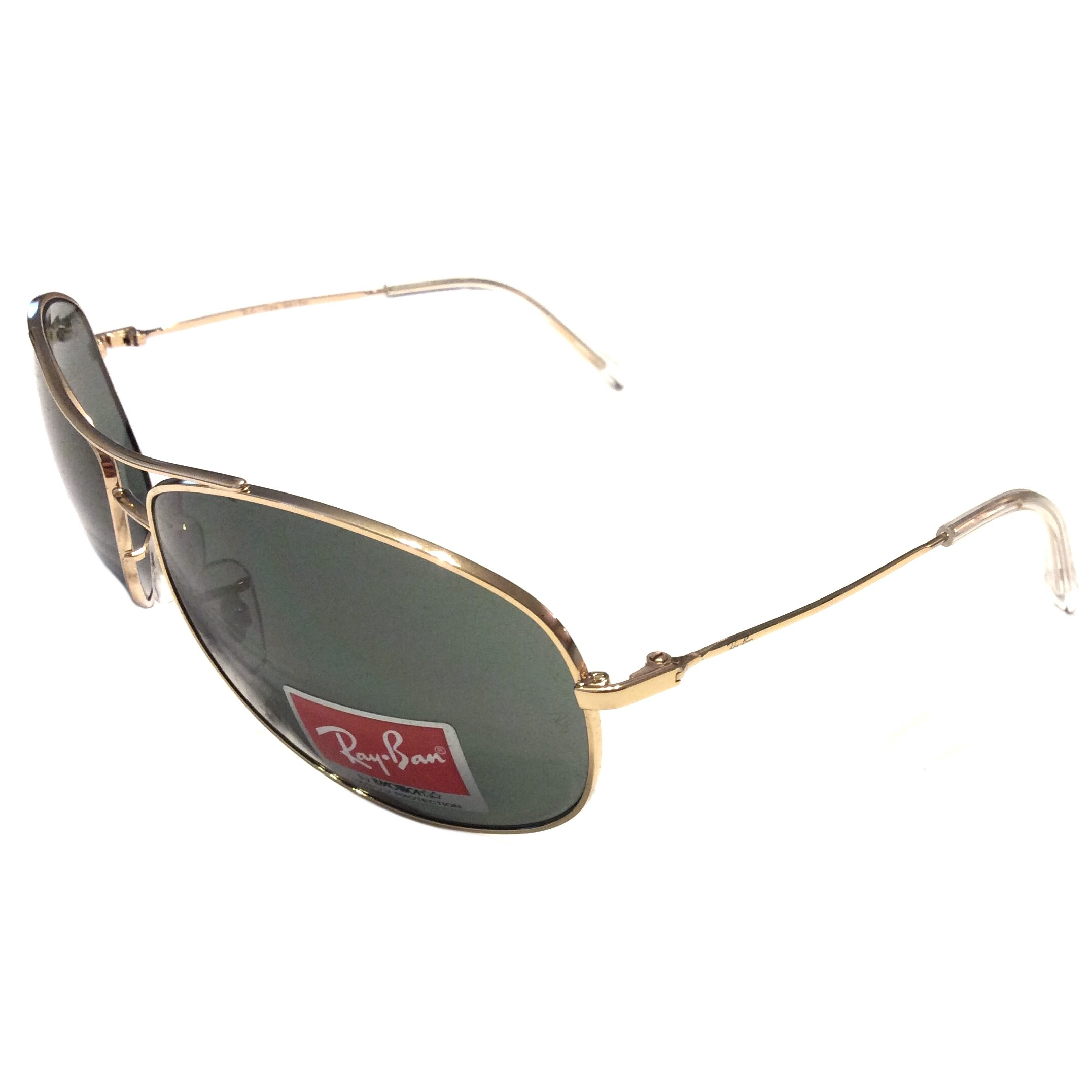 New ray ban aviator sunglasses gold frame green lens for Ray ban aviator miroir homme