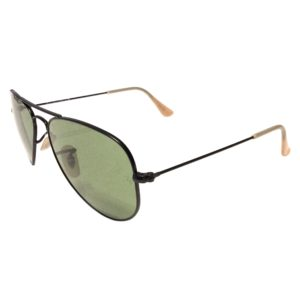 Ray-Ban Aviator Sunglasses -SMALL 52mm Matte Black - Green Lens - RB3044