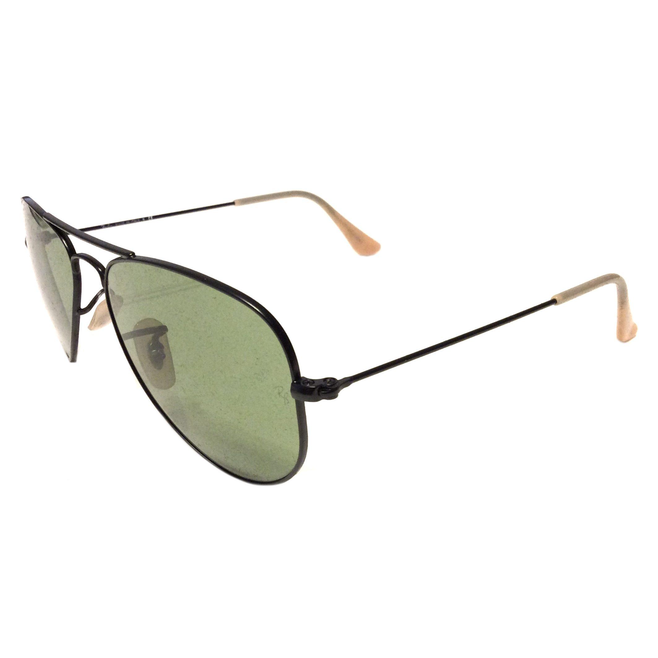 Ray-Ban Aviator Sunglasses -SMALL 52mm Matte Black - Green Lens - RB3044