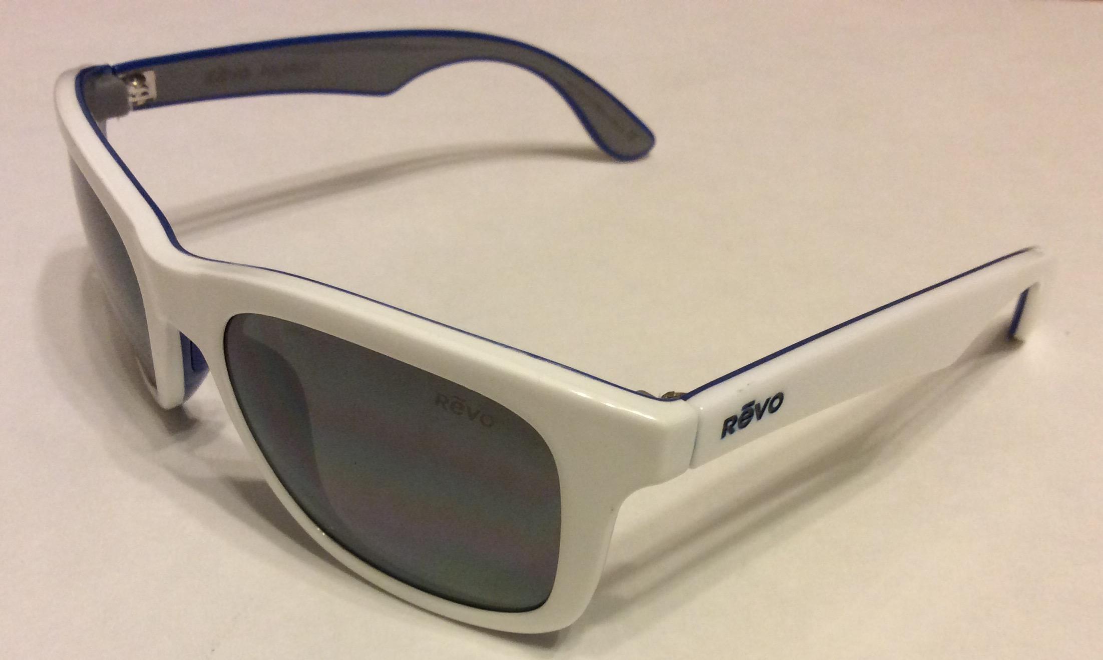 Revo Huddie Sunglasses - White Blue - POLARIZED Gray RE1000-09
