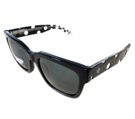 Spy Trancas Sunglasses - Richer Poorer Black w/ White Polka Dots Frame - Happy Gray Green Lens