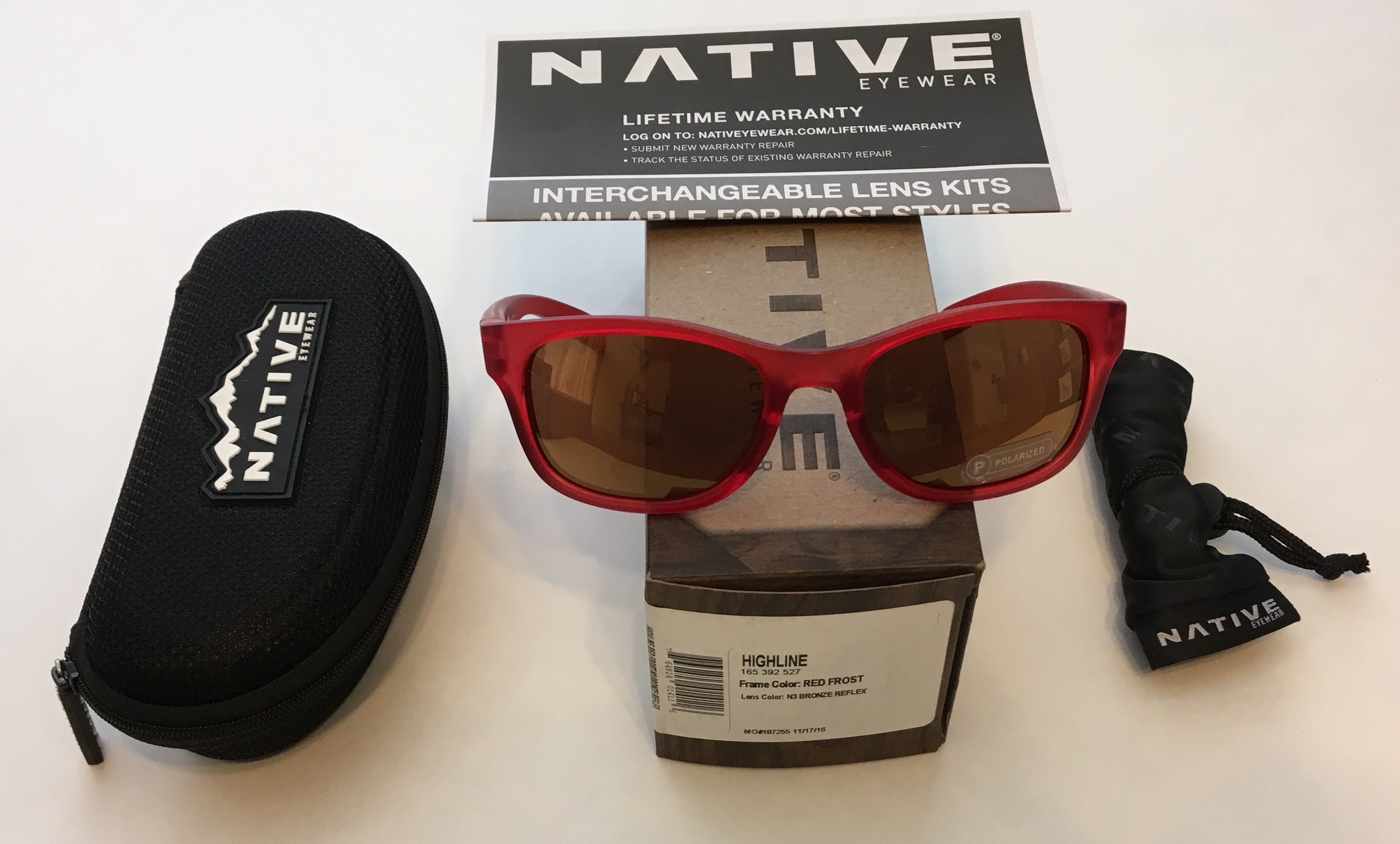 Native Eyewear Highline Sunglasses - Red Frost POLARIZED N3 Bronze Reflex