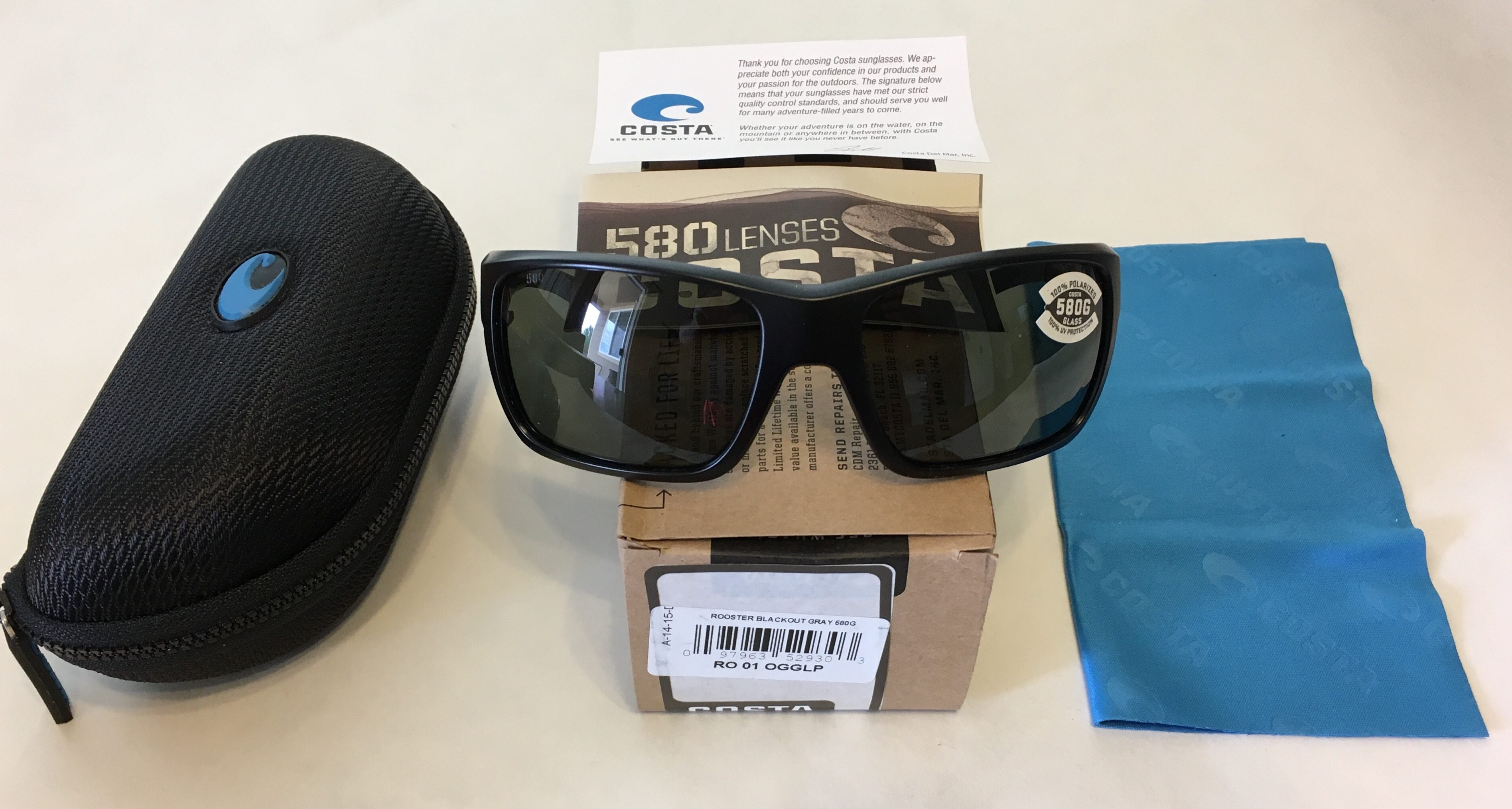 c7913dcc6 Costa Del Mar Rooster Sunglasses Blackout Matte Black POLARIZED Gray 580G  Glass