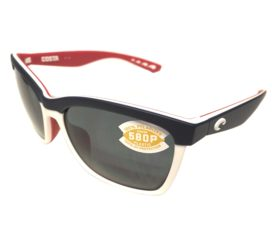Costa Del Mar Anaa Sunglasses - USA Red White Blue Frame - Polarized Gray Lens 580P