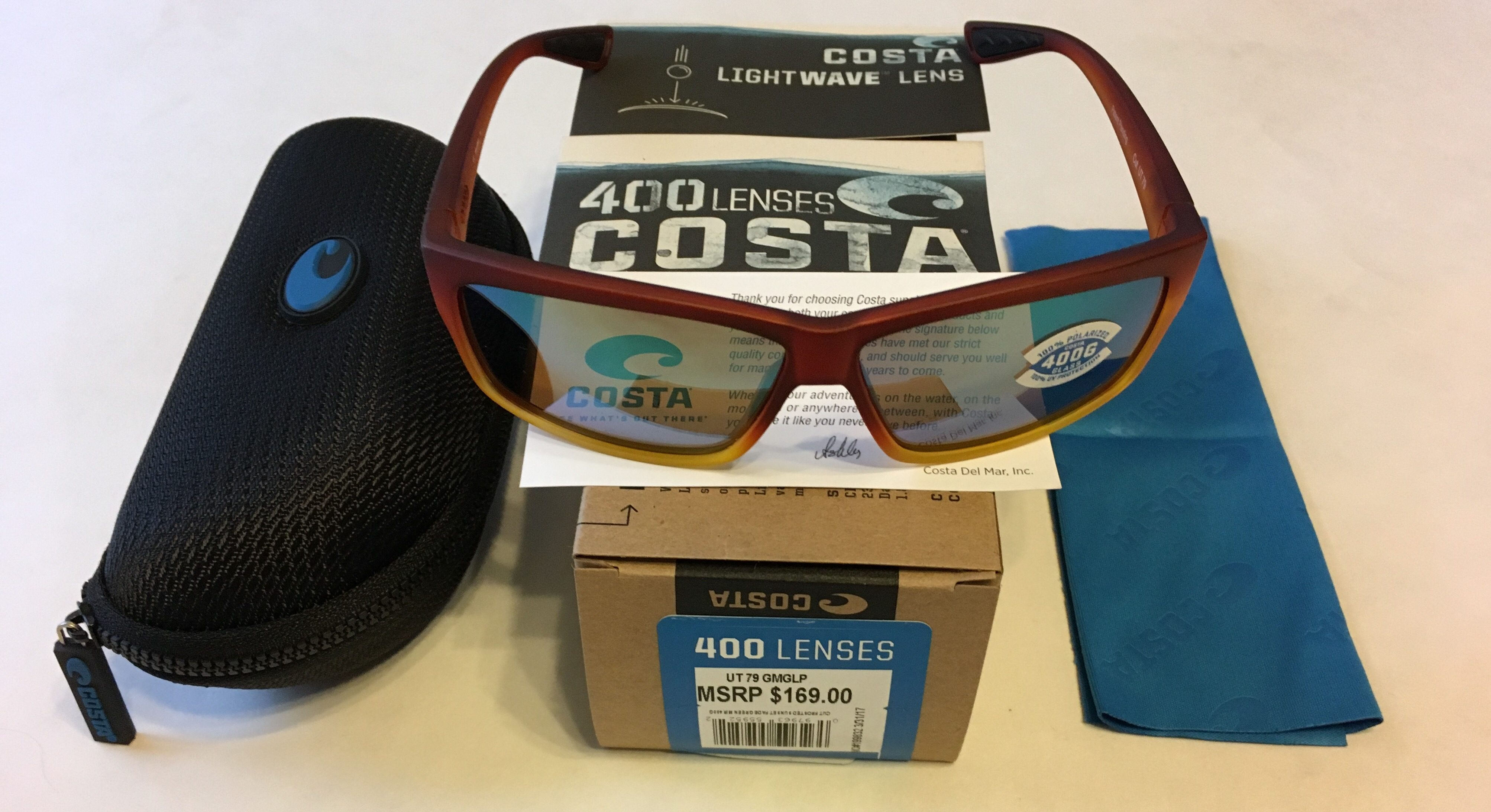 Costa Del Mar Cut Sunglasses Frosted Sunset Fade POLARIZED Green Mirror 400G
