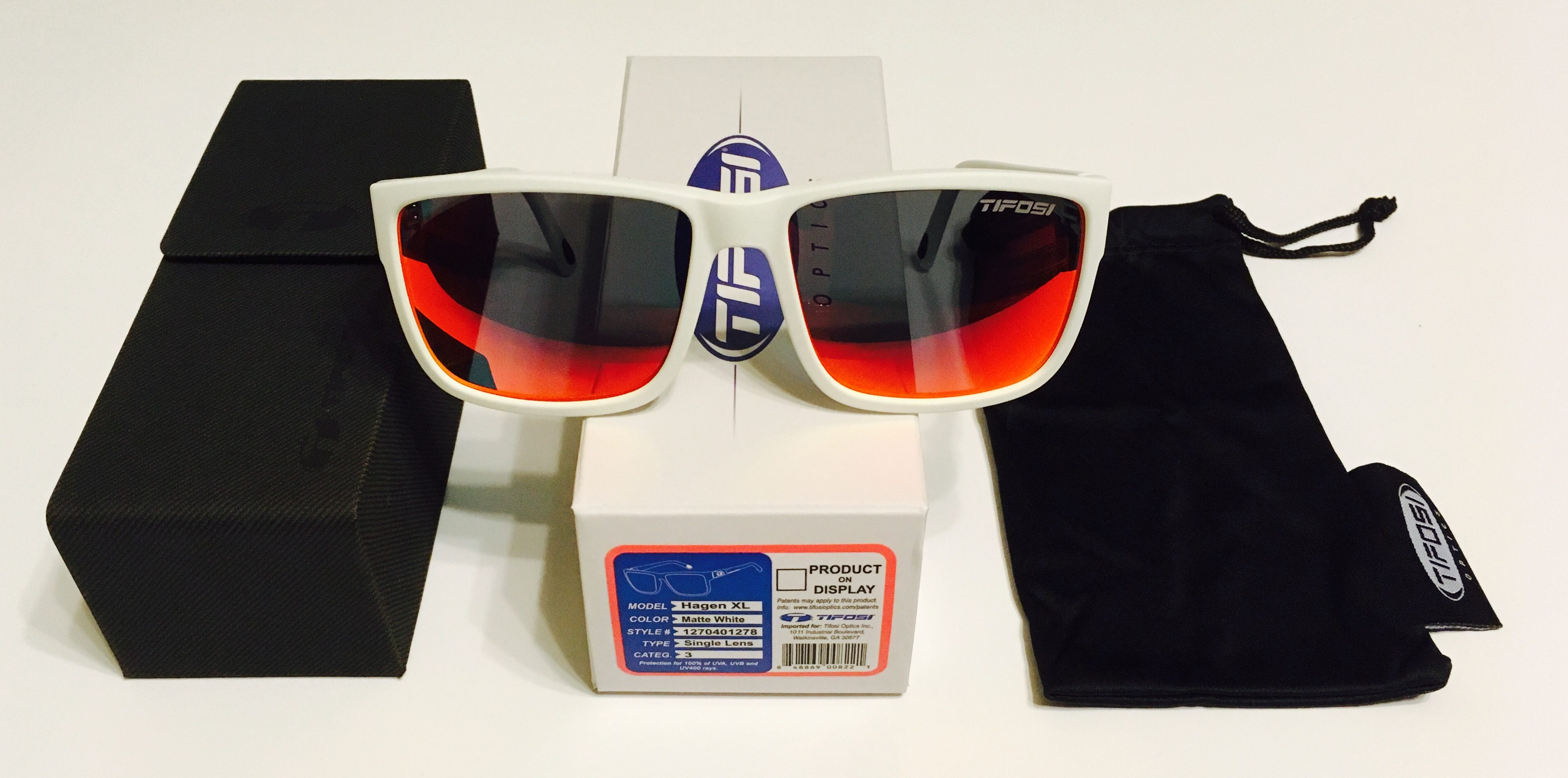 9040f29244 Tifosi Optics Hagen XL Sunglasses - Matte White Frame - Smoke Red Lens