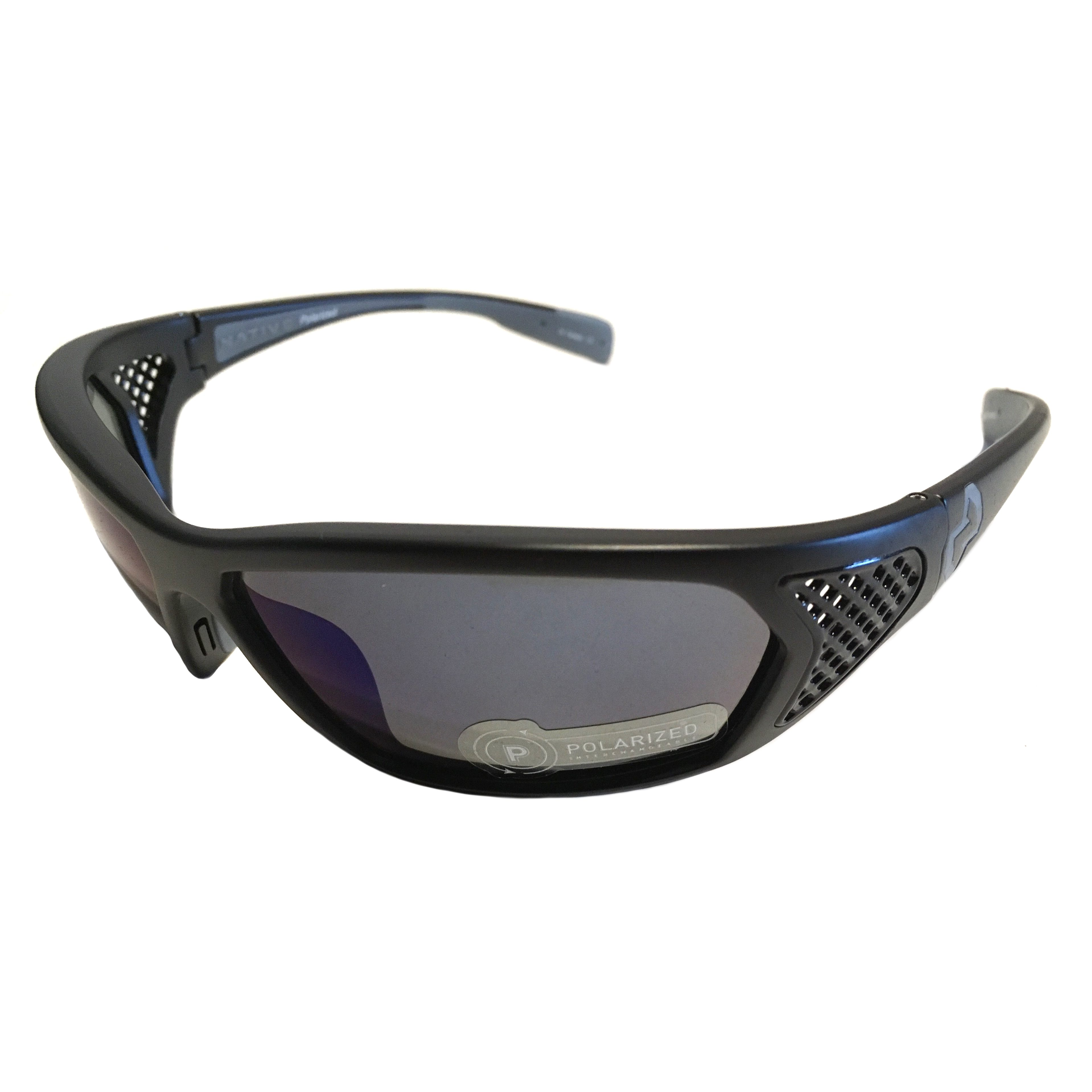Native Eyewear Andes Sunglasses XTRA Lens Matte Black POLARIZED Blue Reflex