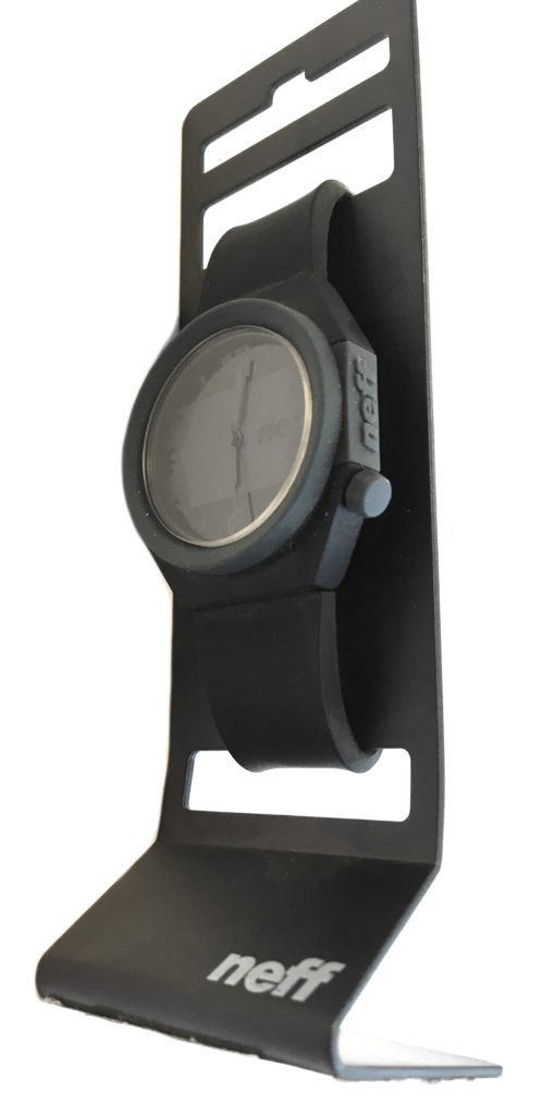 Neff stripe analog water resistant watch black gray