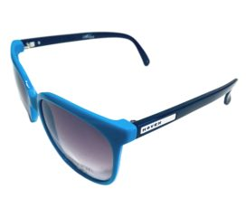 Hoven Vision Skinny Legs Sunglasses - Cyan Blue w/ Black Frame - Grey Fade Lenses