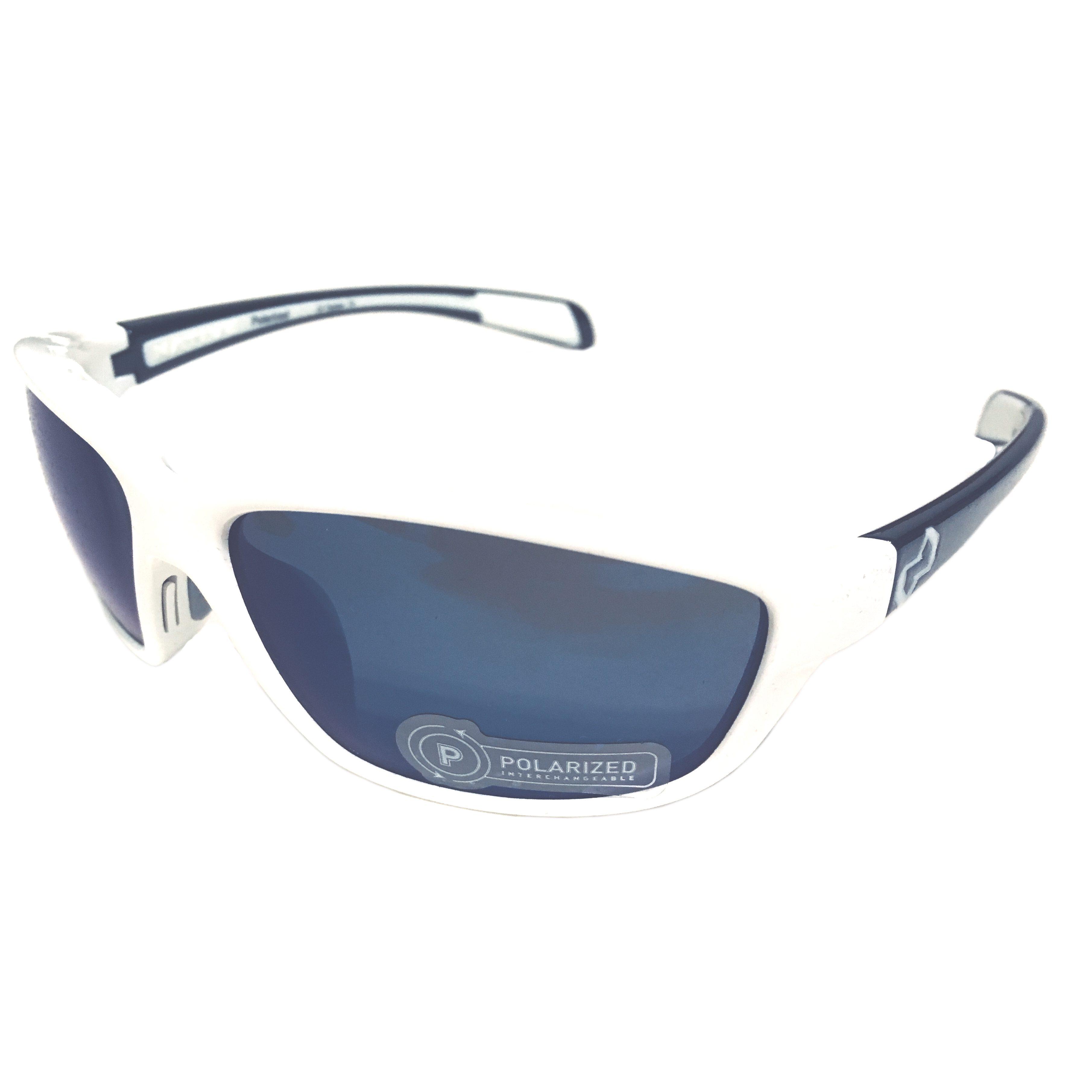 Native Eyewear Kodiak Sunglasses - Snow White Gloss Black POLARIZED Blue Reflex N3