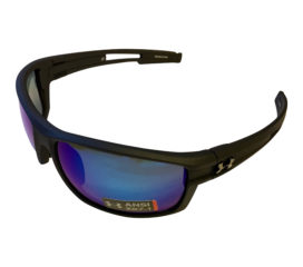Under Armour UA Captain Sunglasses - Satin Black - POLARIZED Blue Storm