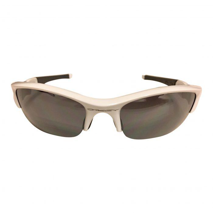 Oakley Flak Jacket Sunglasses - Polished White Frame - Black Iridium 03-882