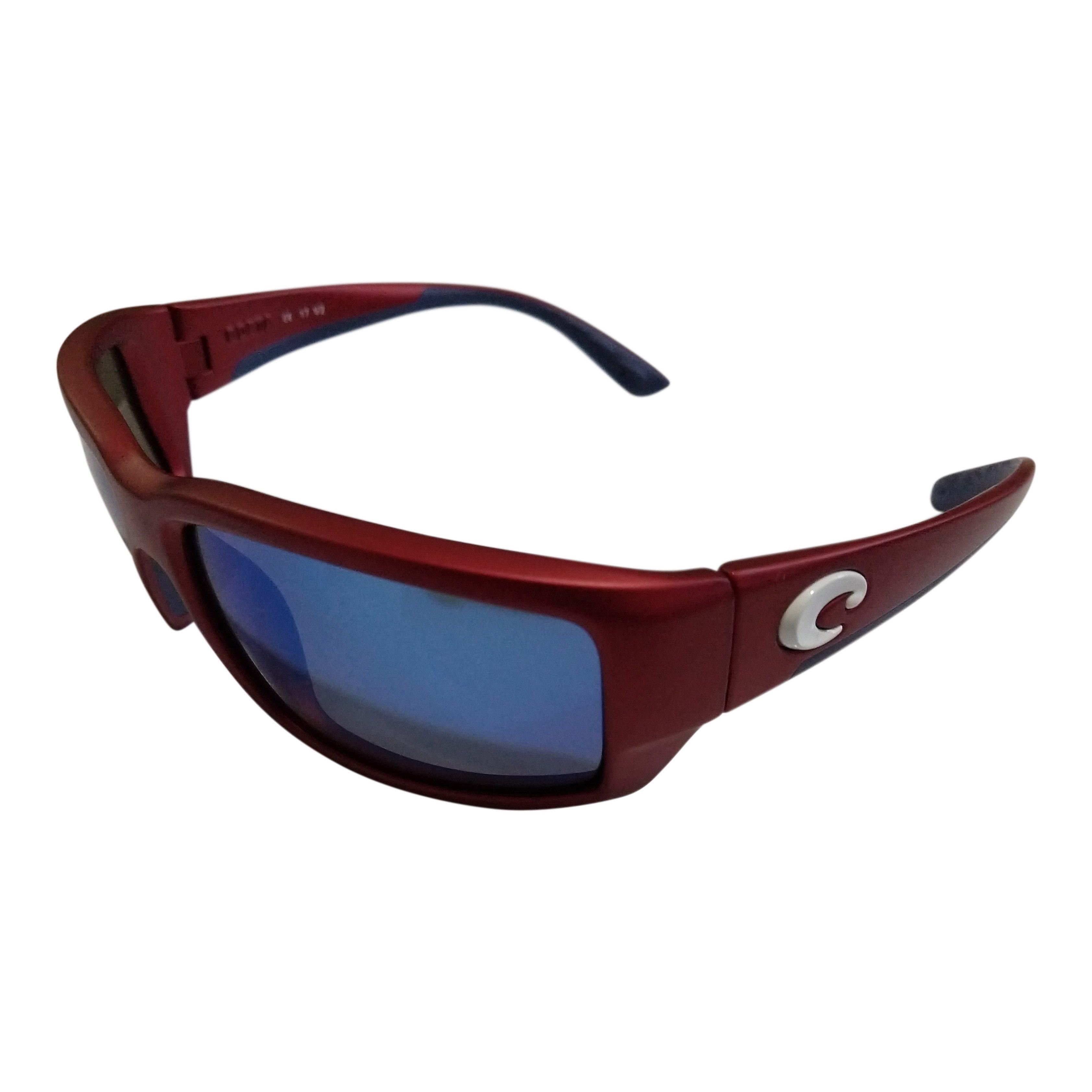 47dc536b1ed Costa Del Mar Fantail Sunglasses - USA Red Frame - POLARIZED Blue Mirror  400G