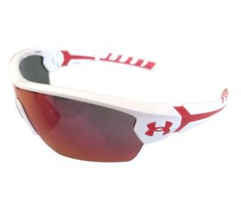 Under Armour Rival Sunglasses UA - Shiny White w/ Red Frame - Infrared Multiflection Mirror