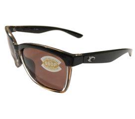 Costa Del Mar Anaa Sunglasses - Shiny Black On Brown Frame - Polarized Copper 580P Lens