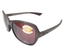 Costa Del Mar Kare Sunglasses - Shiny Gray Lavender Crystal Frame - Polarized Silver 580P