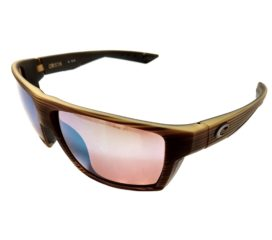 Costa Del Mar Bloke Sunglasses - Matte Verde Teak Black Frame Polarized Green 400G Lens