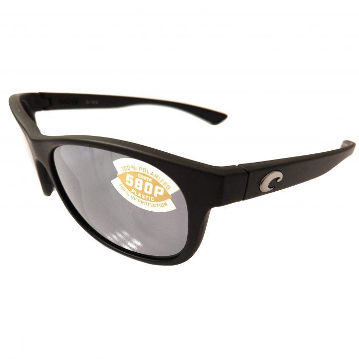 Costa Del Mar Prop Sunglasses - Matte Black Frame POLARIZED Gray Silver 580P