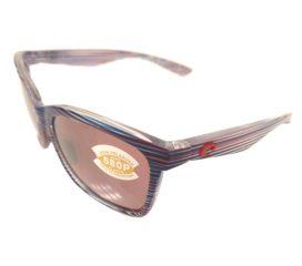 Costa Del Mar Anaa Sunglasses - USA Teak Red Blue Frame -  Polarized 580P Silver Mirror