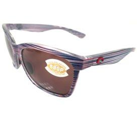 Costa Del Mar Anaa Sunglasses USA Teak Red White Blue Frame - Polarized 580P Amber Lens