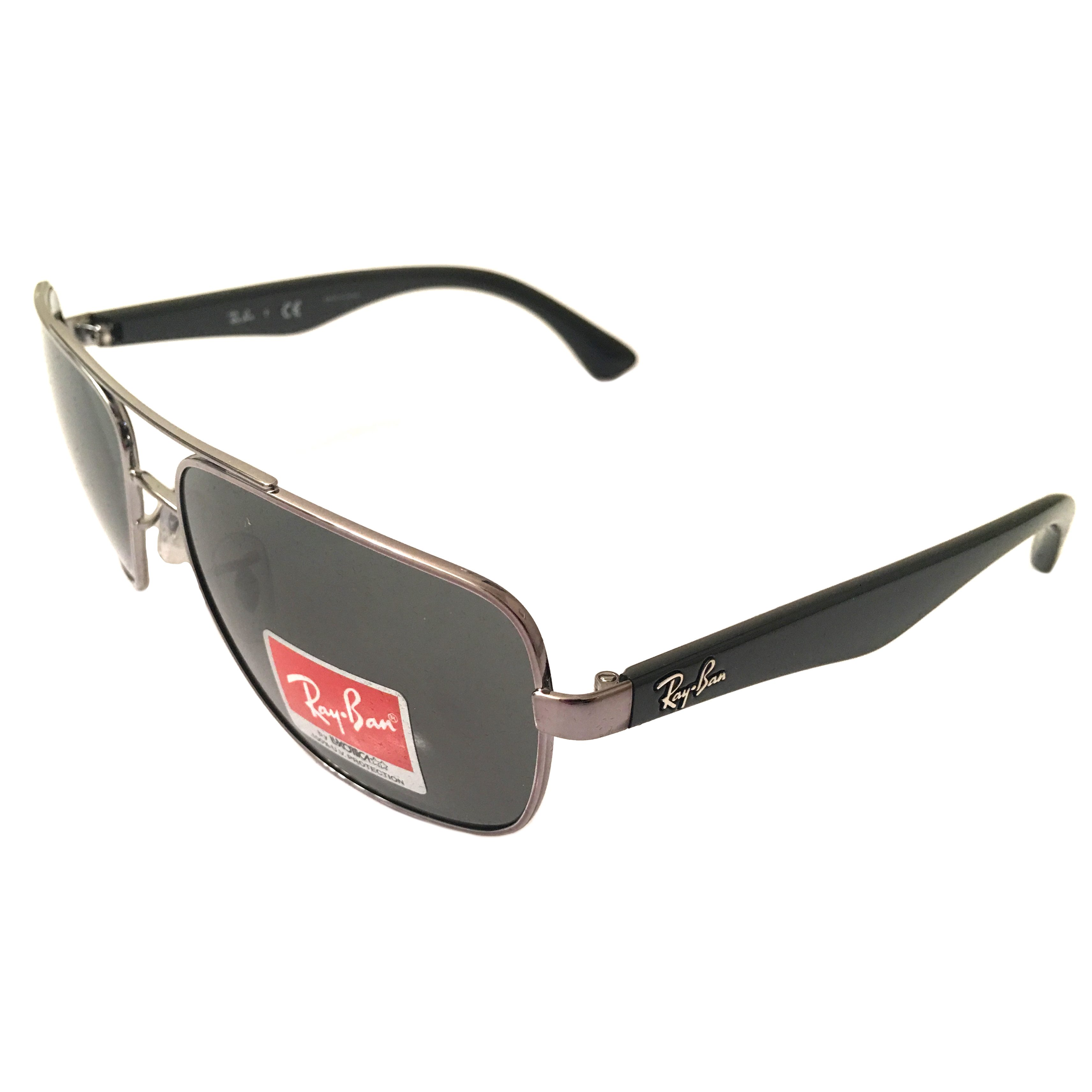 Ray-Ban Aviator Sunglasses - Gunmetal w/ Black - Dark Green Lens RB3483 004/71