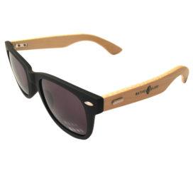 Native Slope Wayfarer Sunglasses - Two-Tone Black & Bamboo Frame - Gray Lens