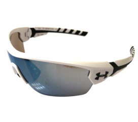 Under Armour Rival Sunglasses UA - Satin White & Black Frame - Baseball Tuned Blue Lens