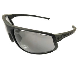 Under Armour Strive Sunglasses UA - Satin Black Sport Wrap Frame - Gray Lenses