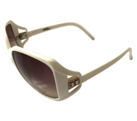 Hoven Vision Glam Sunglasses - Bold Shiny White Frame - Brown Fade Lenses