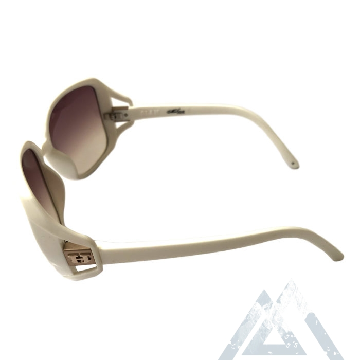 Hoven Vision Glam Sunglasses - Shiny White Frame - Brown Fade Lens