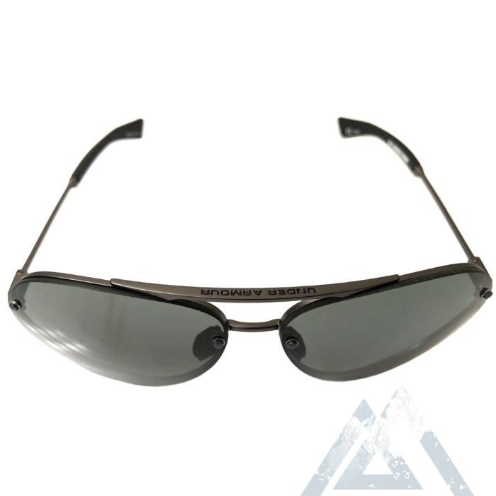 Under Armour Double Down Sunglasses UA Satin Gunmetal Aviator Gray