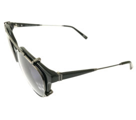 VonZipper Hyde Sunglasses - Gloss Black Gunmetal - Lt. Blue w/ Clip-On Aviator Dark Lenses
