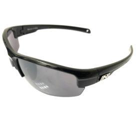 Optic Nerve Micron Sunglasses - Shiny Black Frame - Smoke Silver Flash Lens & Copper Lens