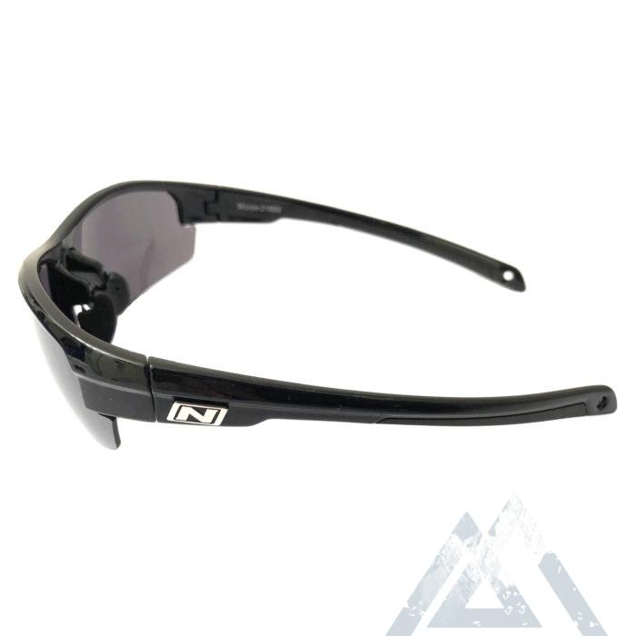 Optic Nerve Micron Sunglasses - Shiny Black Frame - Smoke Silver Flash Lens