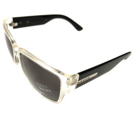 Hoven Vision Mosteez Sunglasses - Clear and Black Frame - Grey Lens 51-2201