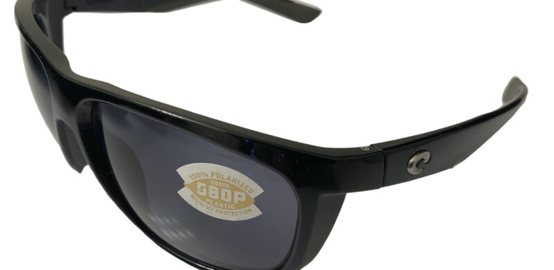 Costa Del Mar Kiwa Sunglasses - Shiny Black POLARIZED Gray 580P