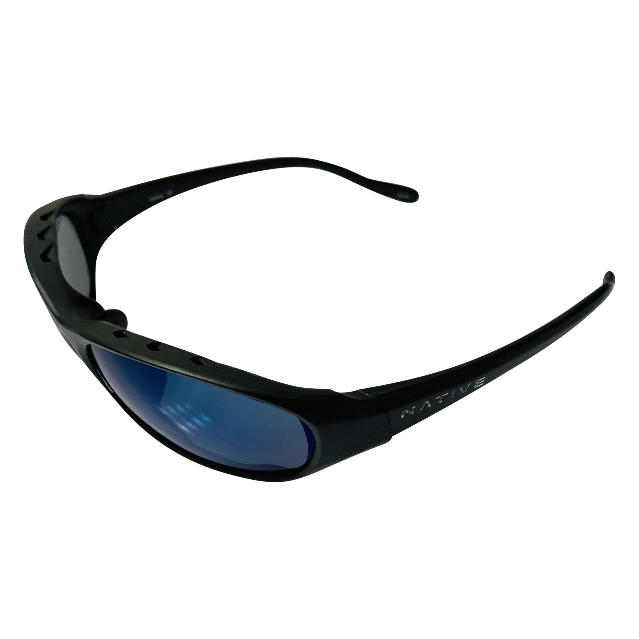 Native Eyewear Throttle Sunglasses - Asphalt Matte Black POLARIZED Blue Reflex