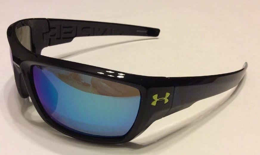 d40006552e Under Armour UA Assert Sunglasses - Shiny Black Multicolor Frame - Blue Lens
